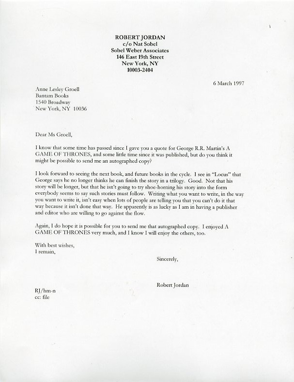 Robert Jordan's letter requesting a signed copy of George R.R. Martin's GAME OF THRONES
