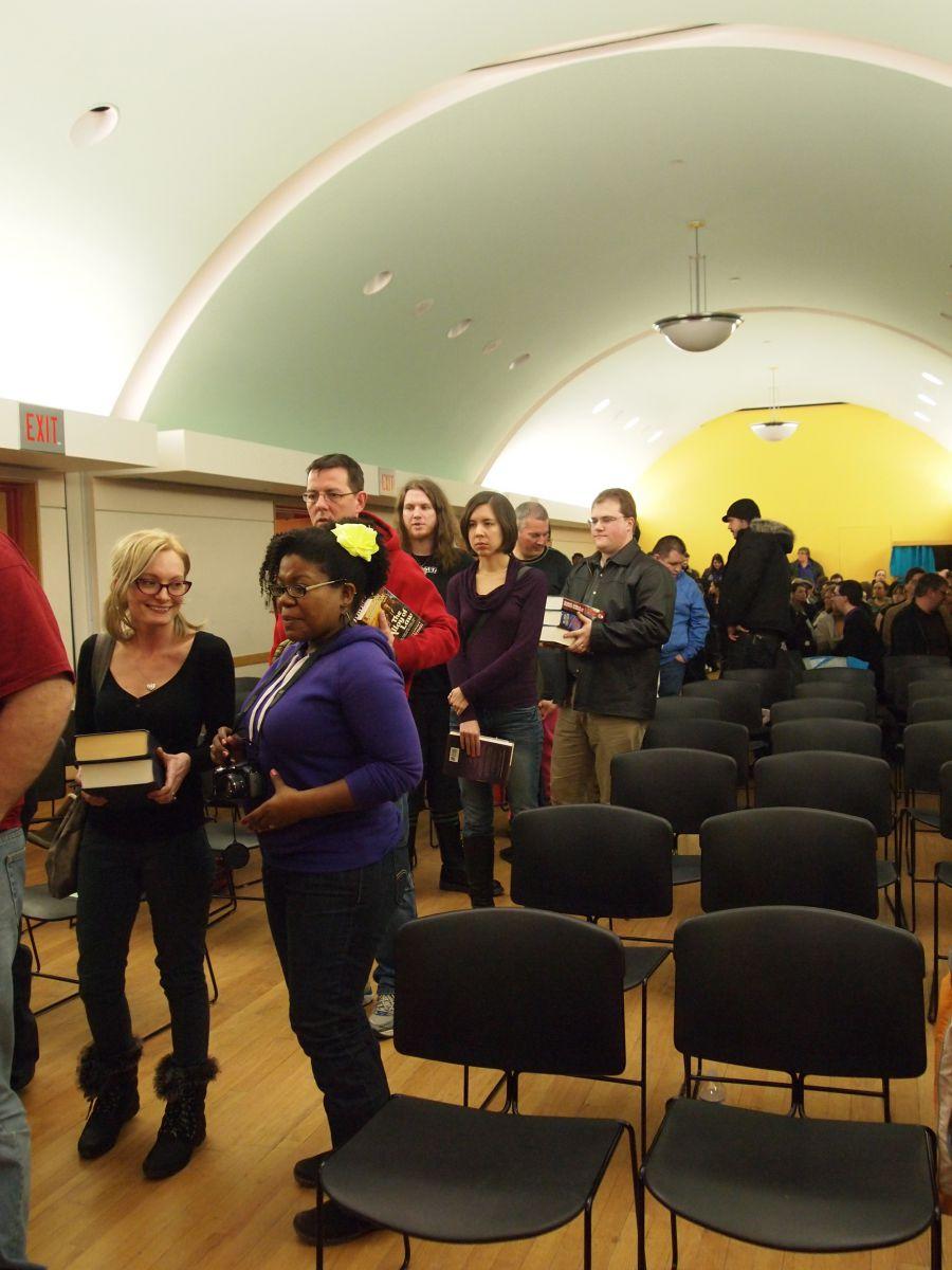 Patient fans waiting in line